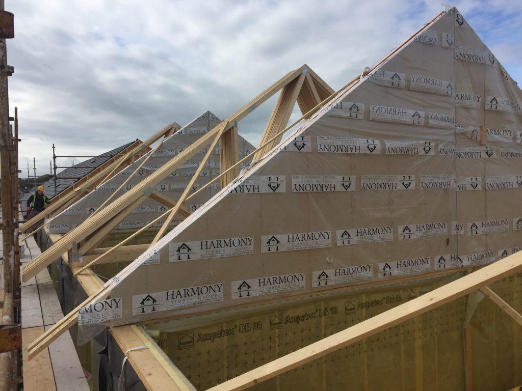 Spandrel Panel , Dublin, Ireland, Timber Frame, Roof Trusses, Harmony Timber Frame, Timber Frame Kit